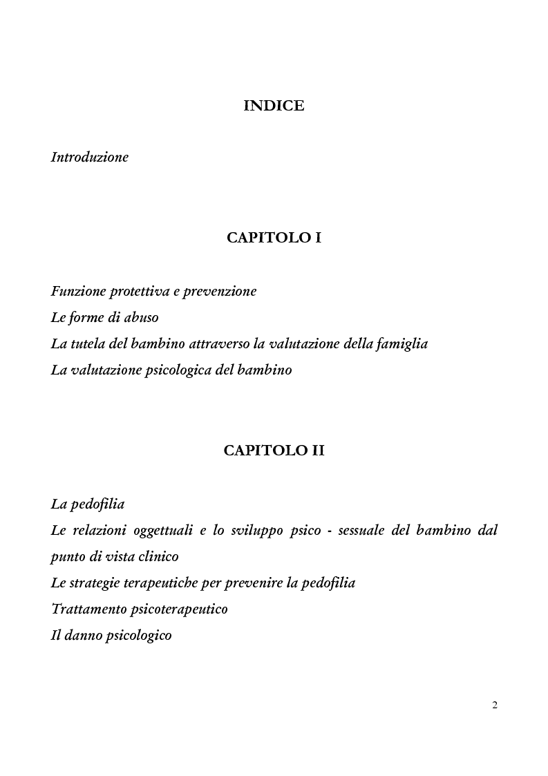 Indice della tesi: Maltrattamento e abuso sessuale su bambini e adolescenti, Pagina 1