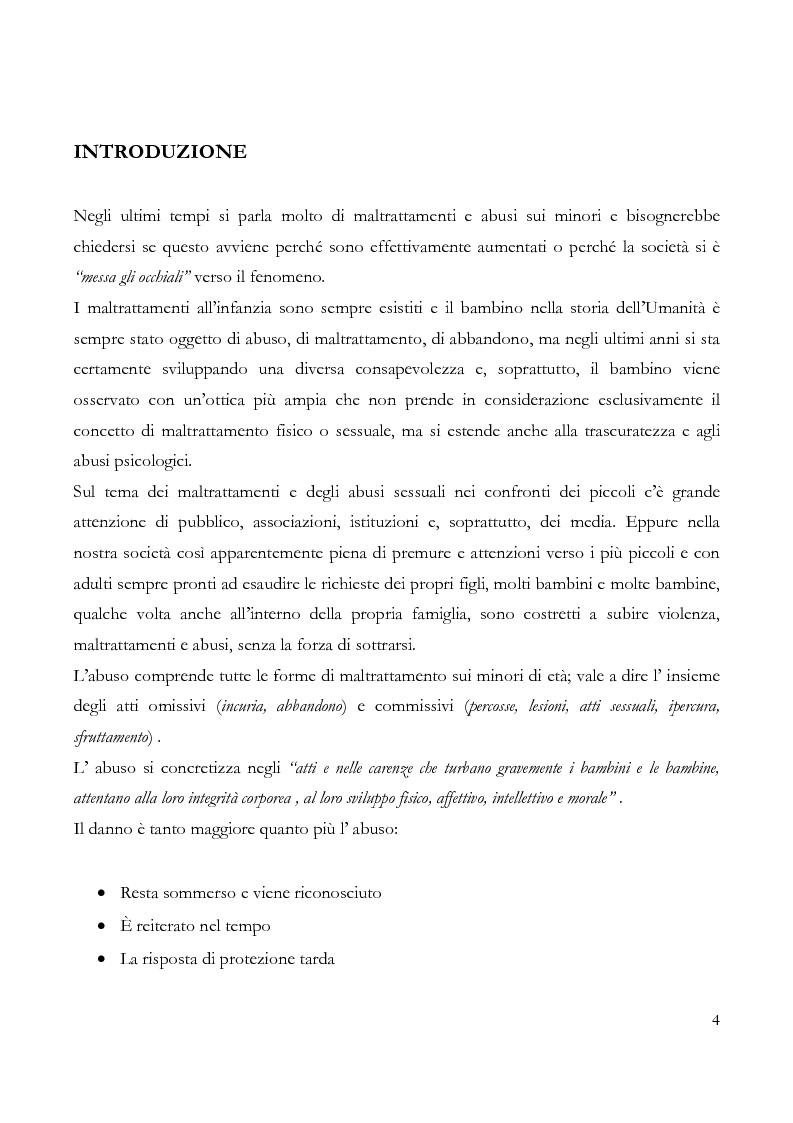 Anteprima della tesi: Maltrattamento e abuso sessuale su bambini e adolescenti, Pagina 1