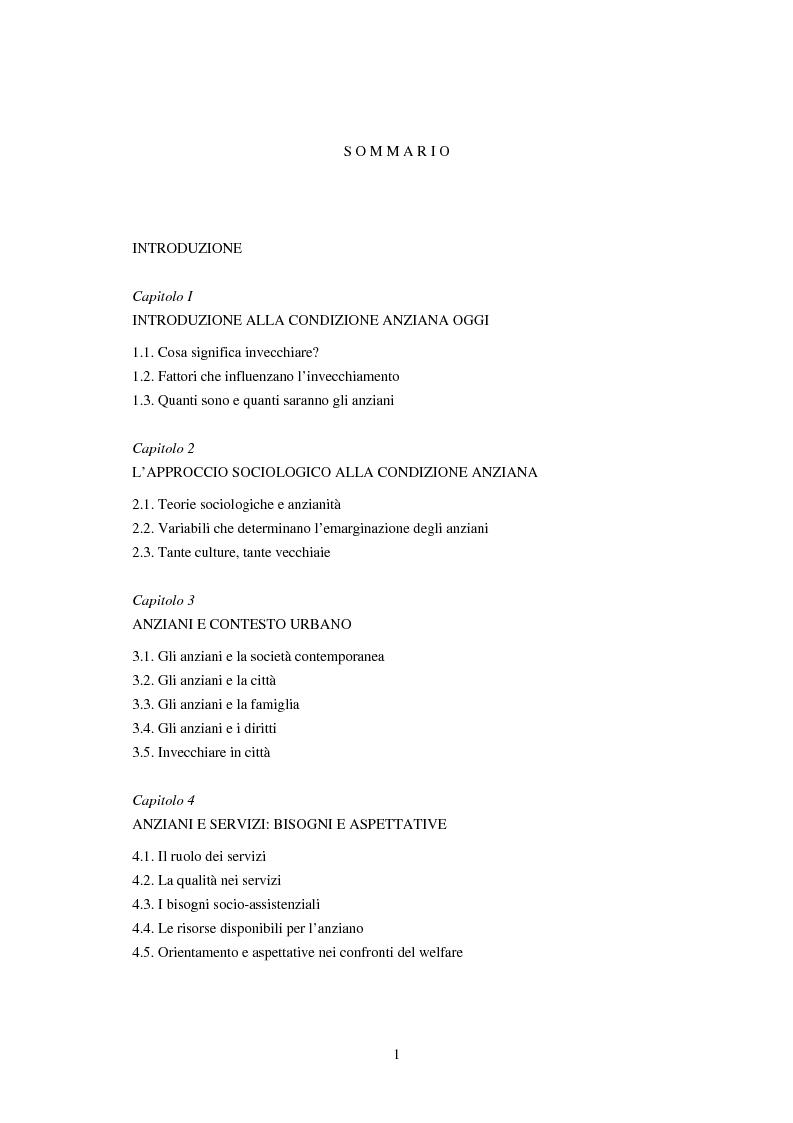 Indice della tesi: Invecchiare a Padova tra bisogni e servizi sociali, Pagina 1