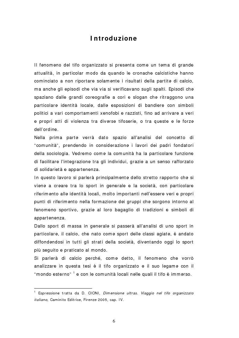 Anteprima della tesi: Tifo organizzato e identità locale, Pagina 1
