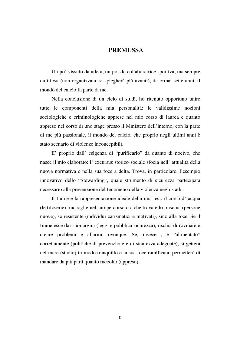 Anteprima della tesi: Le politiche di contrasto al fenomeno della violenza negli stadi, Pagina 1