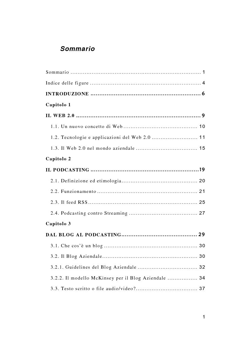 Indice della tesi: Il Podcasting Aziendale, Pagina 1