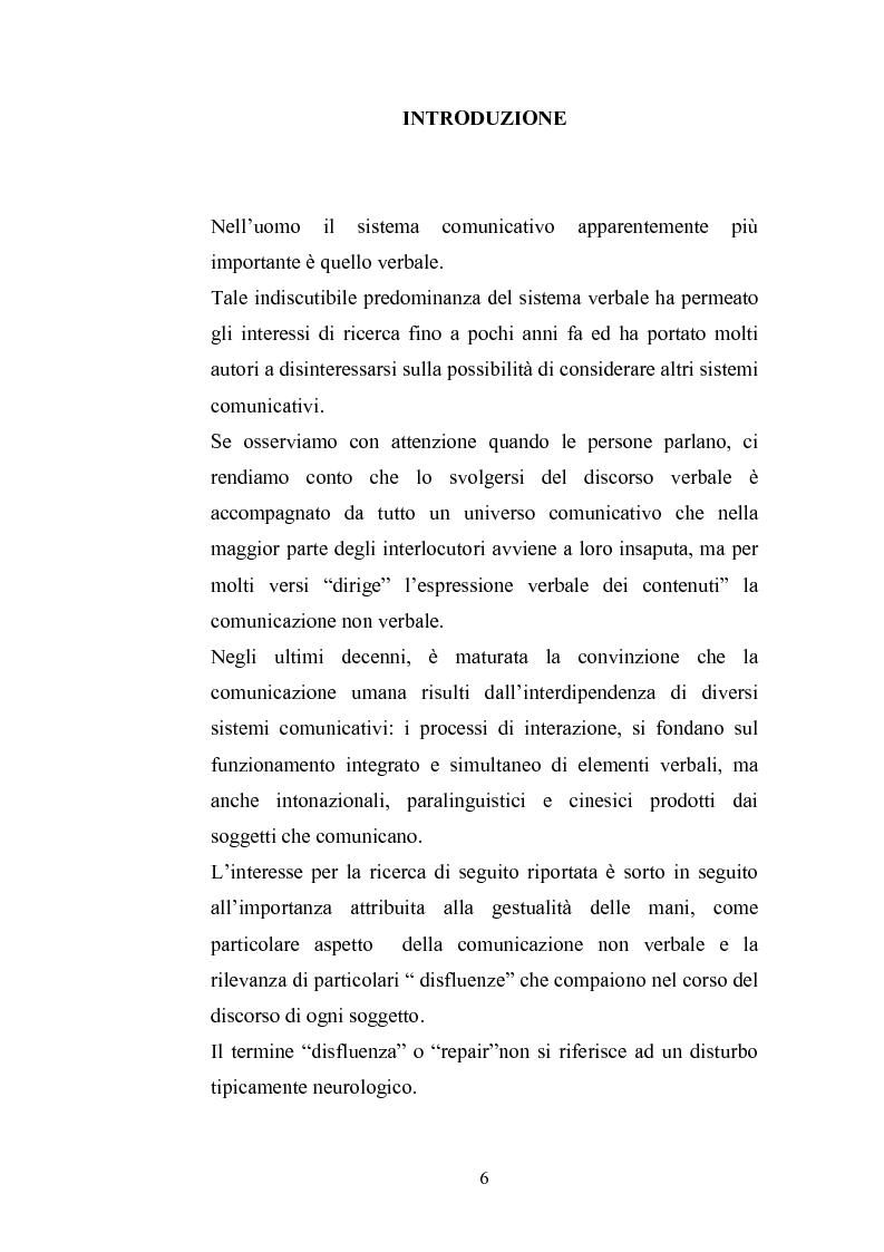Anteprima della tesi: Comunicazione verbale e non verbale: il caso specifico dei gesti conversazionali e delle disfluenze, Pagina 1