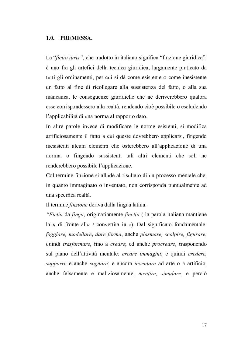Anteprima della tesi: Fictio iuris nella tradizione giuridica e in quella romanistica, Pagina 7