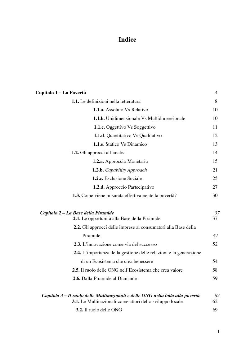 Indice della tesi: La Fortuna alla base della Piramide. Riflessioni su una proposta contro la povertà., Pagina 1