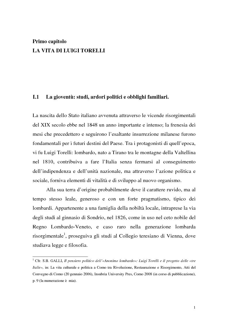 Anteprima della tesi: Tra unità e confederazione. Il Risorgimento di Luigi Torelli., Pagina 4