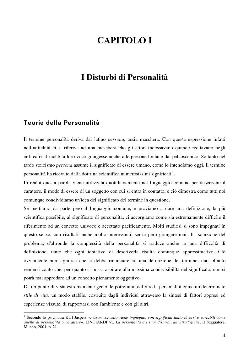 Anteprima della tesi: I disturbi di personalità e la loro rilevanza nel processo penale, Pagina 1