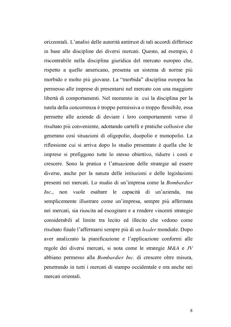 Anteprima della tesi: Accordi orizzontali: M&A e JV. Il caso Bombardier: analisi di una strategia, Pagina 3