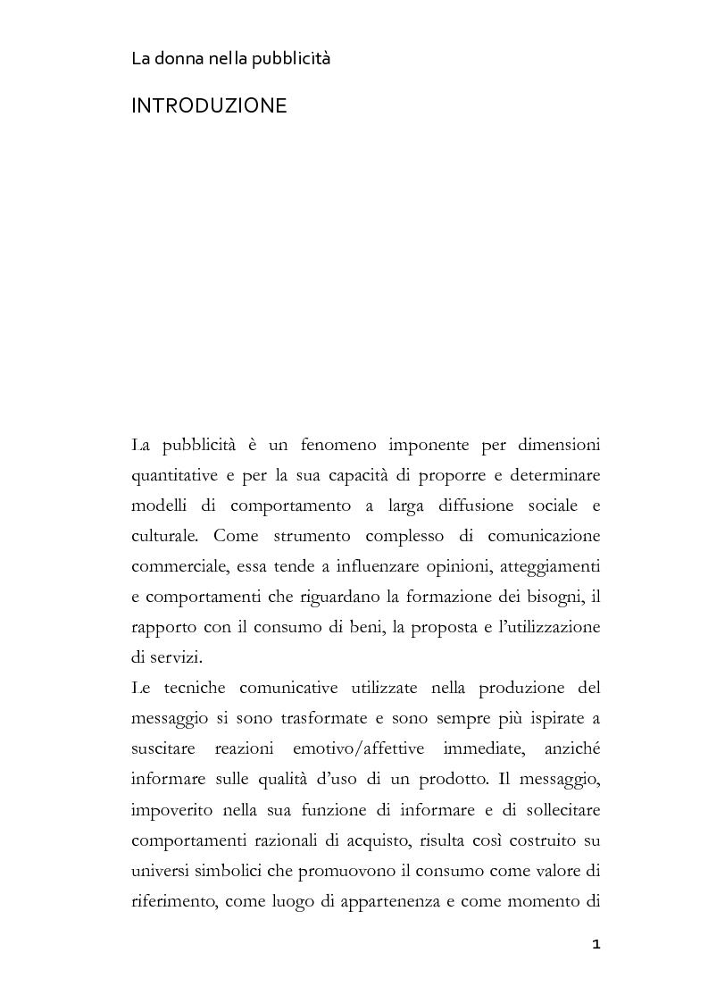 Anteprima della tesi: La donna nella pubblicità, Pagina 1