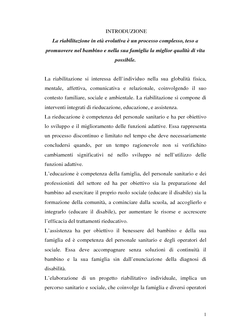 Competenze e intervento psicomotorio nell'ambito della presa in carico globale dei bambini con pci - Tesi di Laurea
