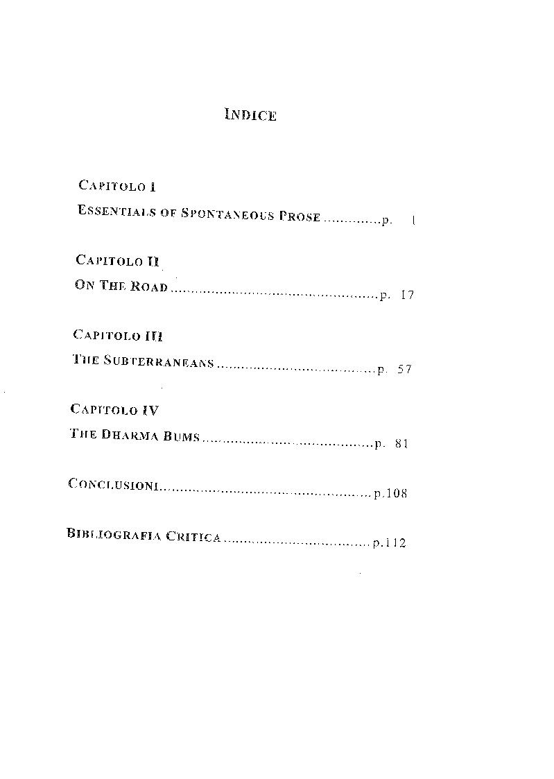 Indice della tesi: Jack Kerouac e il linguaggio dell'evasione, Pagina 1