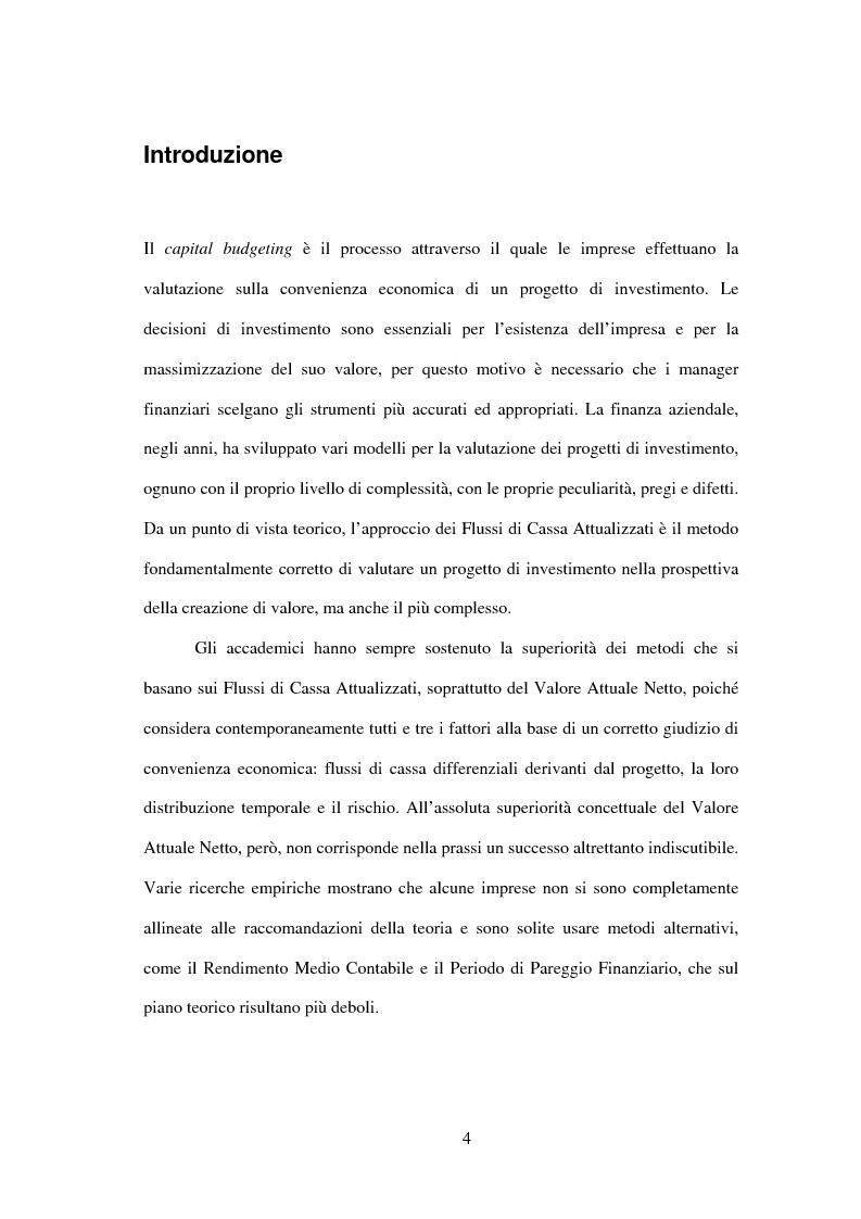 Analisi del divario tra teoria e prassi nella valutazione dei progetti di investimento - Tesi di Laurea