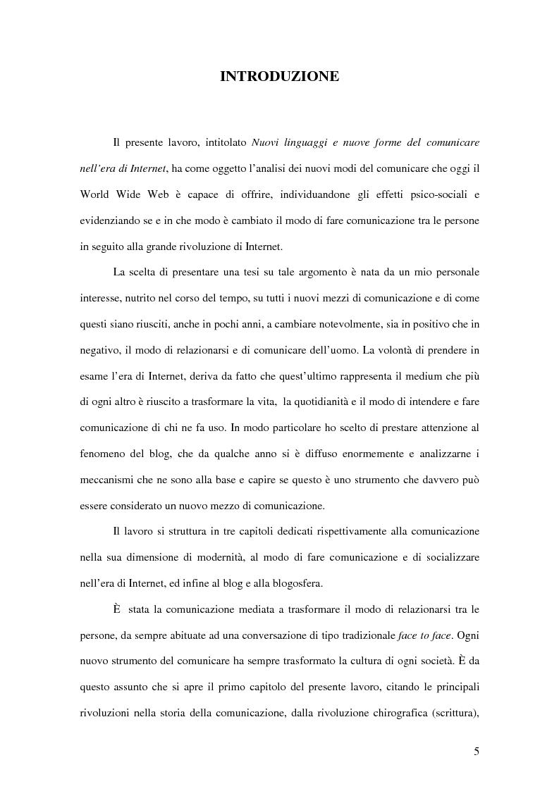 Anteprima della tesi: Nuovi linguaggi e nuove forme del comunicare nell'era di Internet, Pagina 1