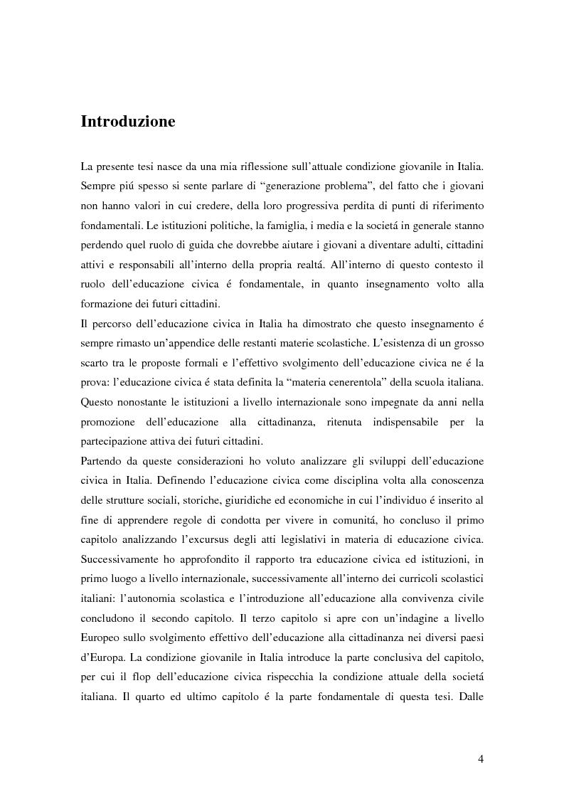 Anteprima della tesi: Civismo e società: riflessioni per una nuova materia scolastica, Pagina 1