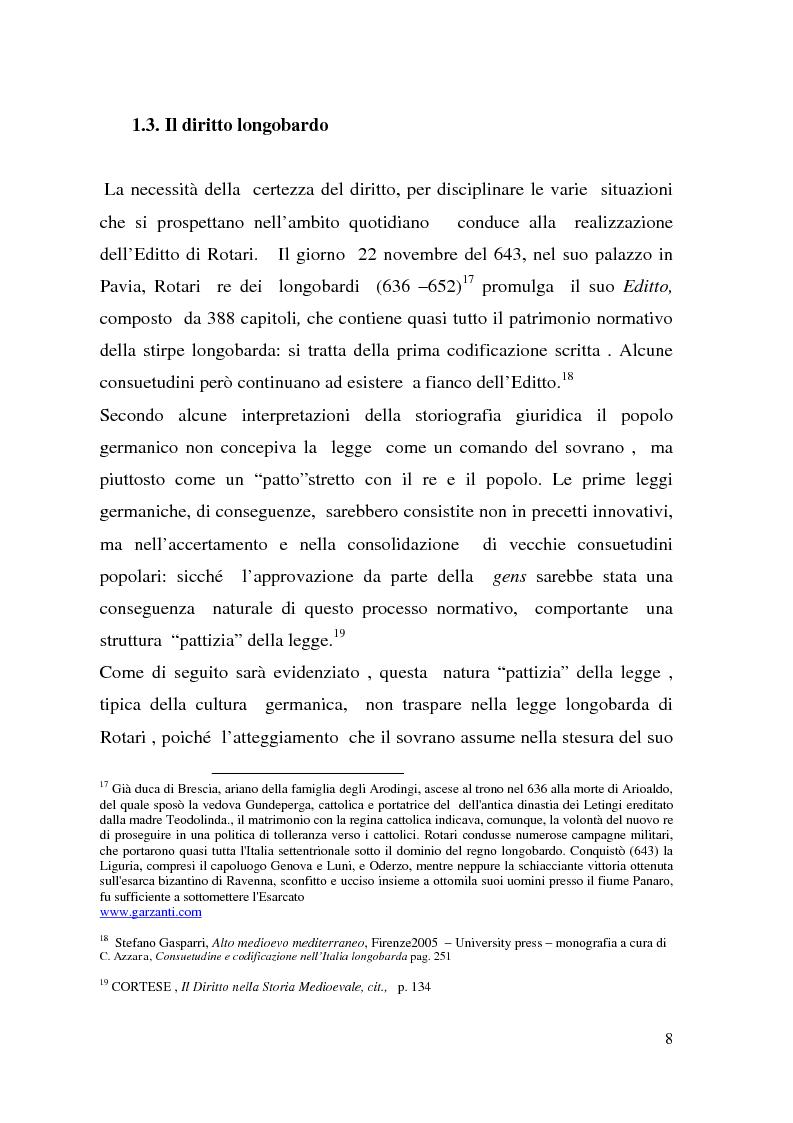 Anteprima della tesi: La posizione giuridica della donna nella società longobarda e carolingia, Pagina 6