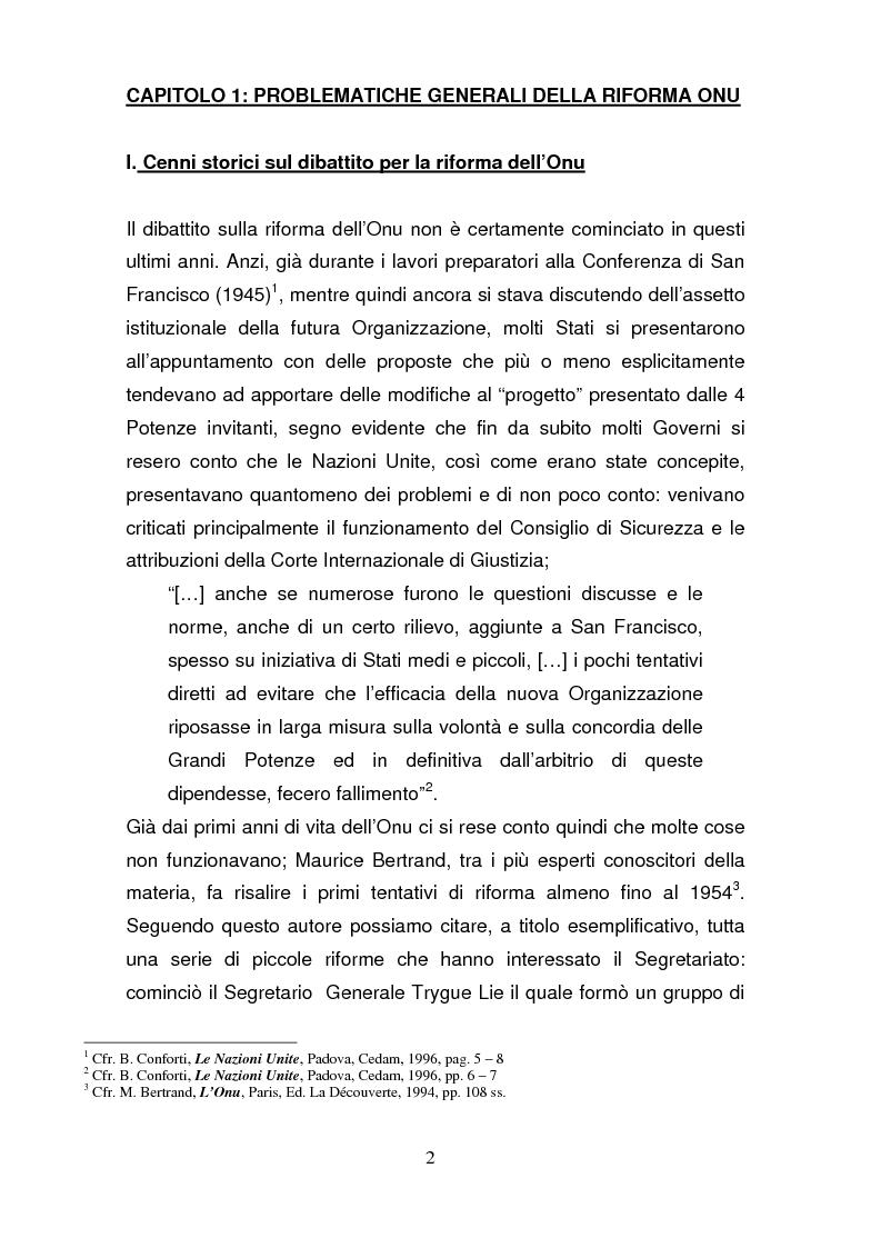 Anteprima della tesi: La riforma del Consiglio di Sicurezza delle Nazioni Unite, Pagina 1