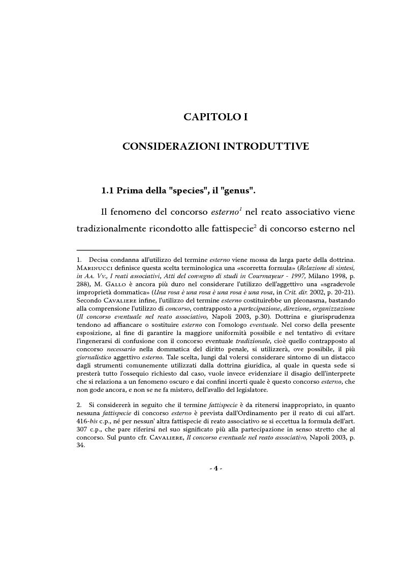 Il concorso esterno nel reato associativo - Tesi di Laurea