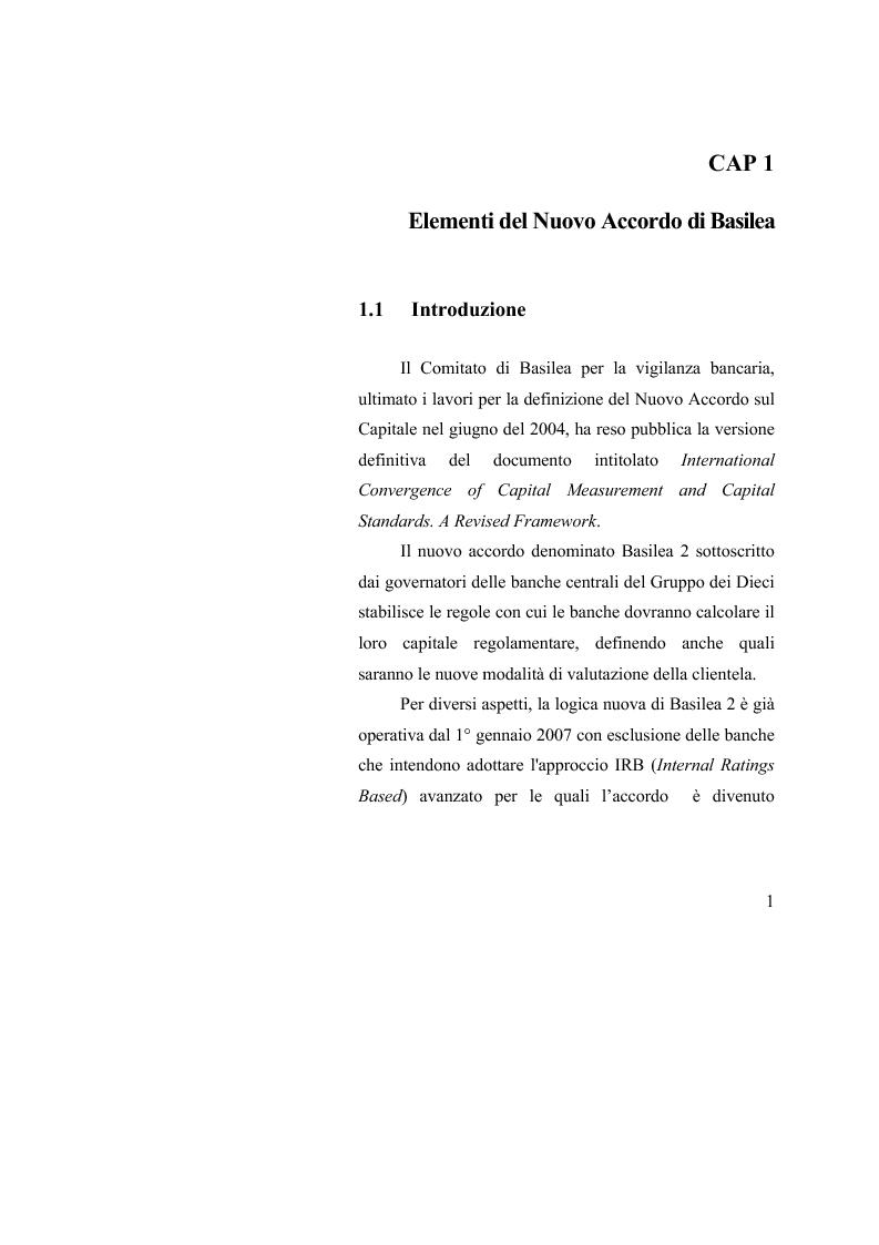 Anteprima della tesi: Le valutazioni d'azienda secondo i criteri di Basilea 2, Pagina 5