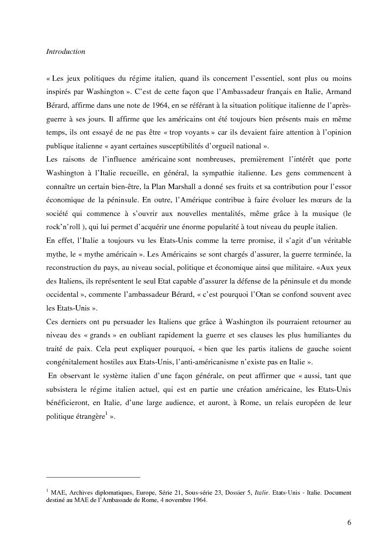 Les relations entre Italie et Etats-Unis durant les ann�es Johnson: entre atlantisme et europ�isme - Tesi di Laurea