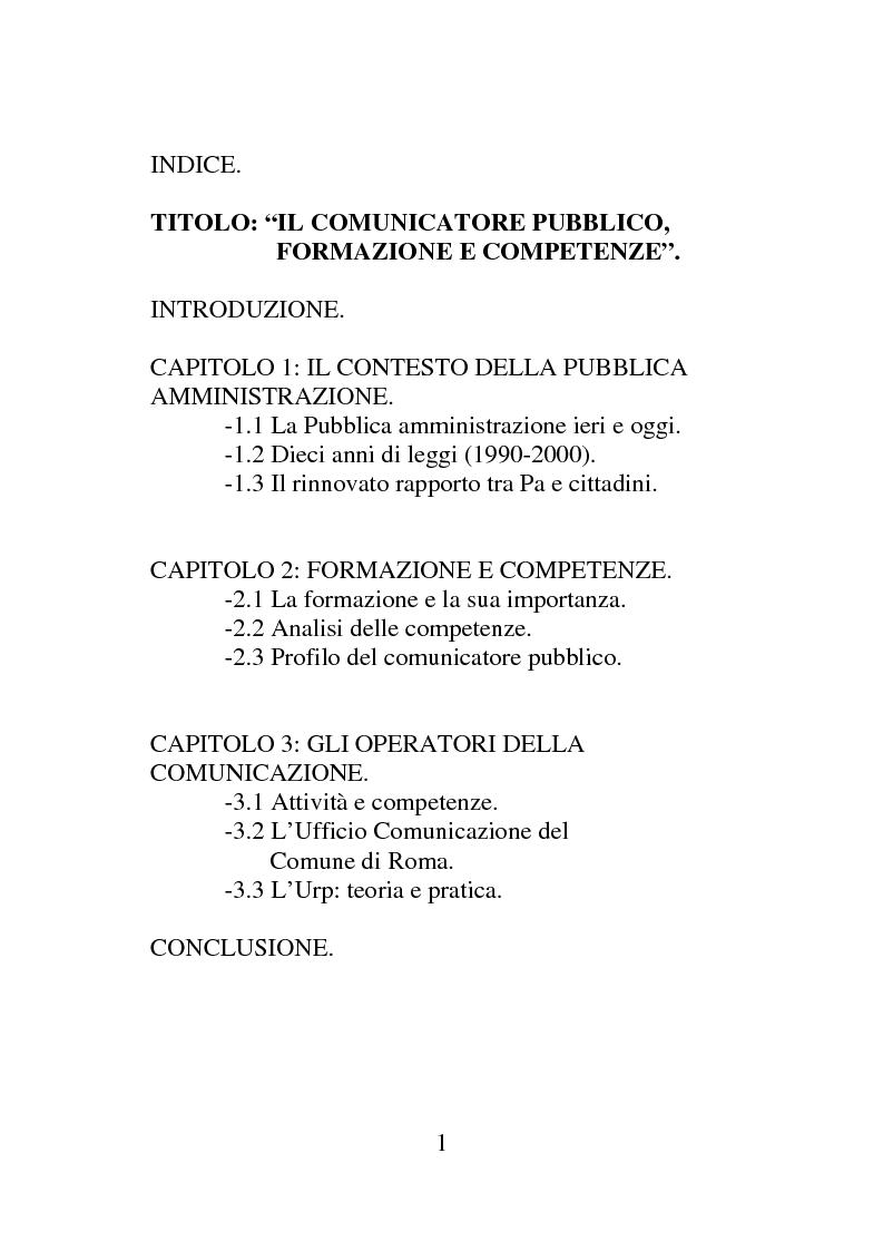Indice della tesi: Il comunicatore pubblico: formazione e competenze, Pagina 1