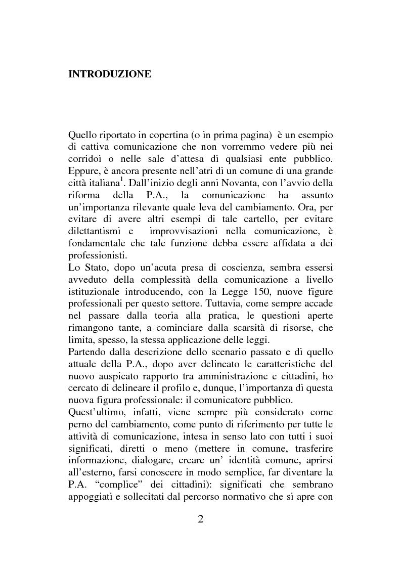 Anteprima della tesi: Il comunicatore pubblico: formazione e competenze, Pagina 1