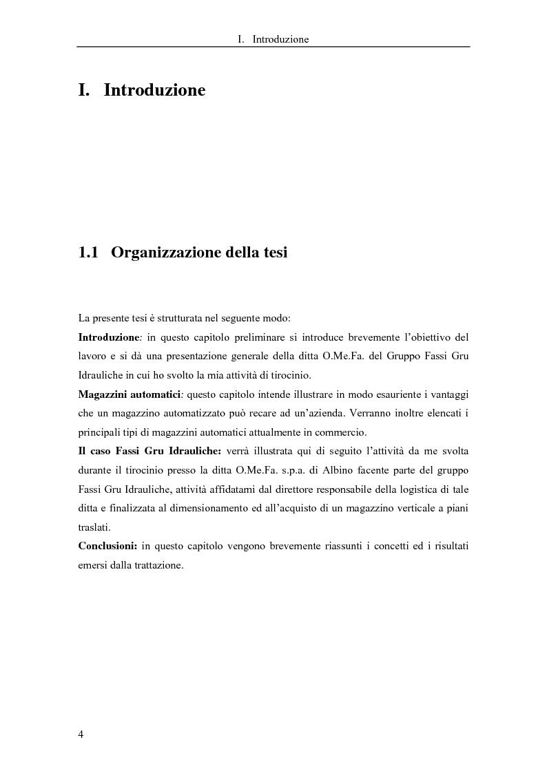 Dimensionamento di un magazzino automatizzato per minuteria: applicazione in Fassi Gru Idrauliche - Tesi di Laurea