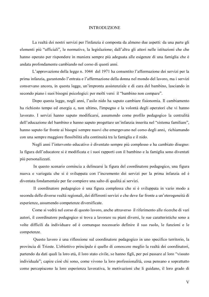 Il coordinatore pedagogico negli asili nido di Trieste, riflessione su una realt� - Tesi di Laurea