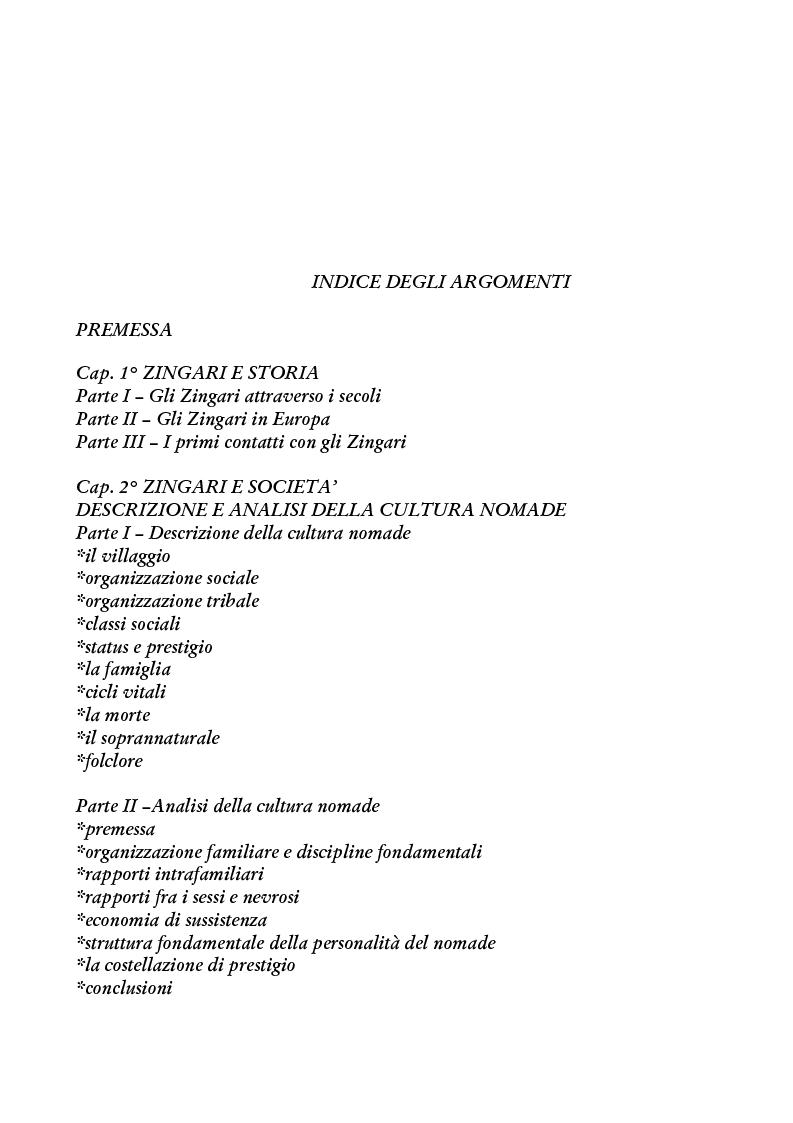 Indice della tesi: Zingari al bivio: cultura nomade o cultura occidentale?, Pagina 1