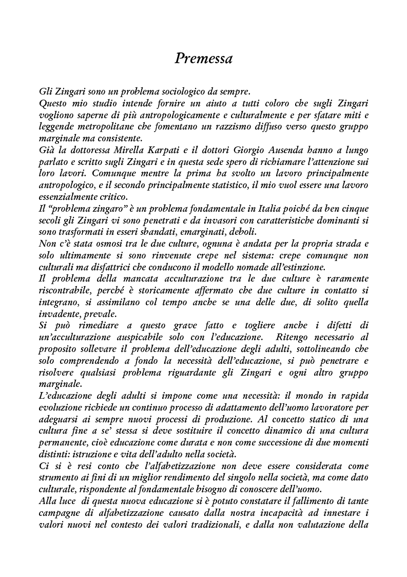 Anteprima della tesi: Zingari al bivio: cultura nomade o cultura occidentale?, Pagina 1