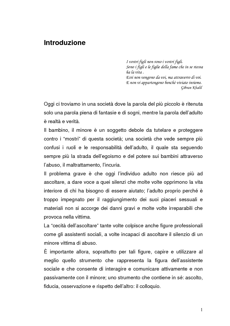 Anteprima della tesi: L'Assistente Sociale a colloquio con il bambino abusato, Pagina 1