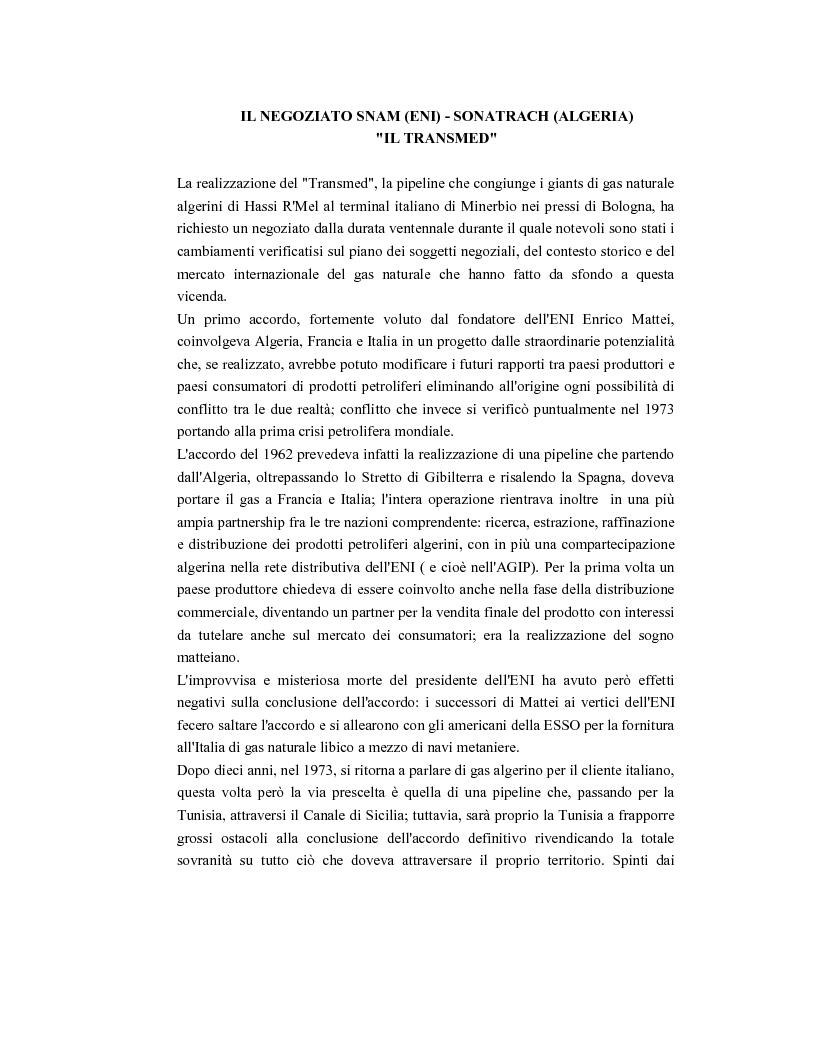 Anteprima della tesi: I negoziati per gli approvvigionamenti internazionali di gas naturale: il caso Snam (ENI) - Sonatrach (Algeria), Pagina 1