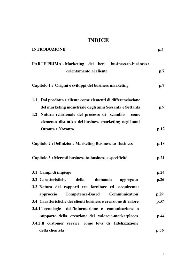 Indice della tesi: Le nuove frontiere del Marketing B2B, Pagina 1