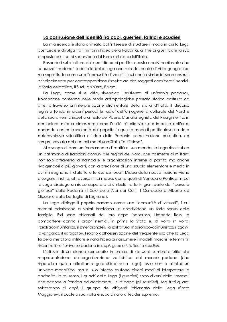 Il mondo di Padania. La costruzione dell'identit� fra capi, guerrieri, fattrici e scudieri - Tesi di Laurea