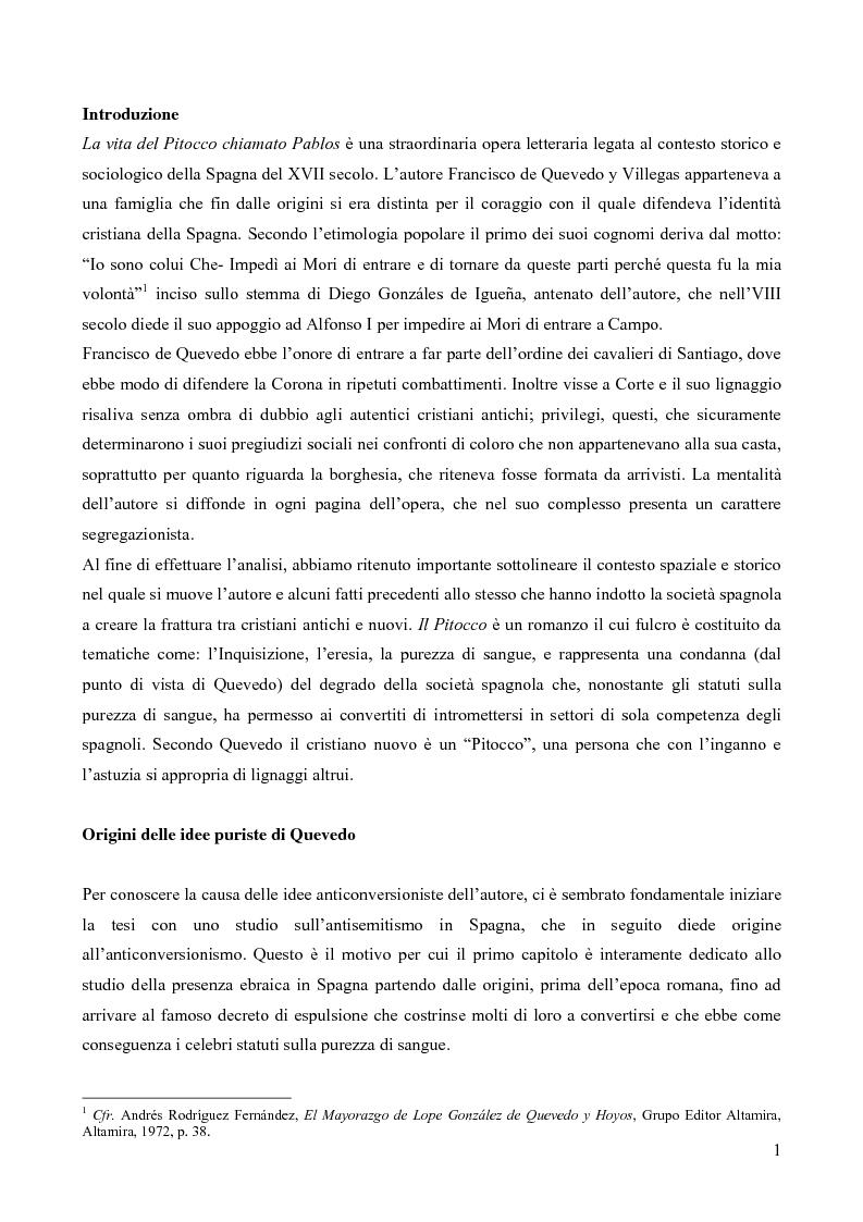 La questione ebraica nel Pitocco di Francisco de Quevedo - Tesi di Laurea