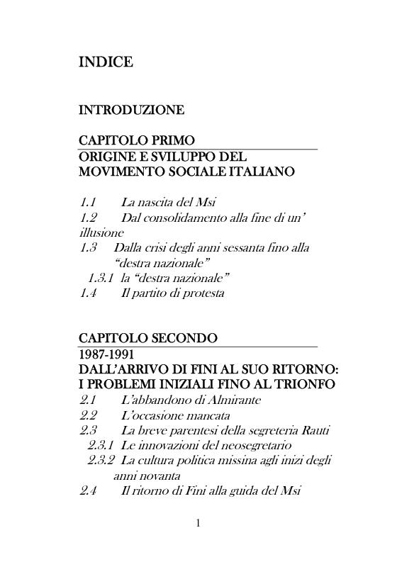 Indice della tesi: Dal Movimento Sociale Italiano ad Alleanza Nazionale (1989-1995), Pagina 1