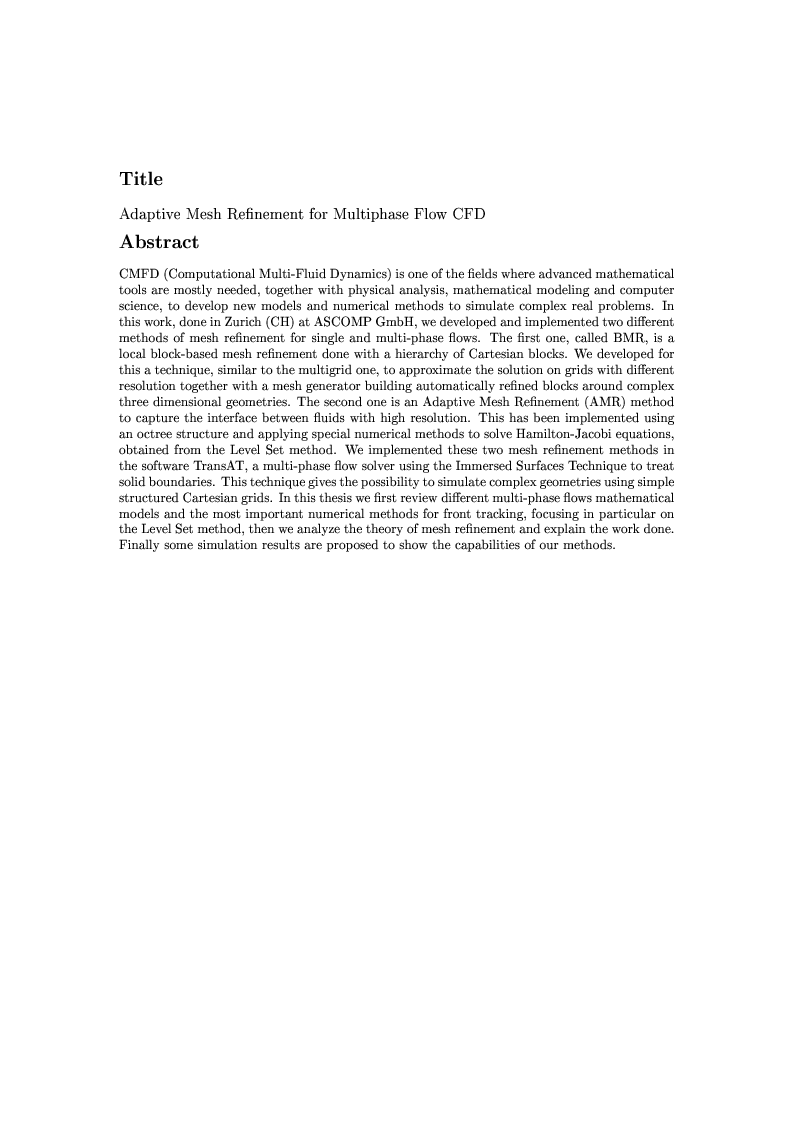 Anteprima della tesi: Adaptive Mesh Refinement for Multiphase Flow CFD, Pagina 1