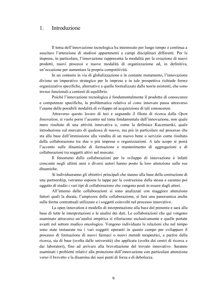 Le alleanze strategiche per lo sviluppo di innovazione tecnologica: un'analisi empirica - Tesi di Laurea