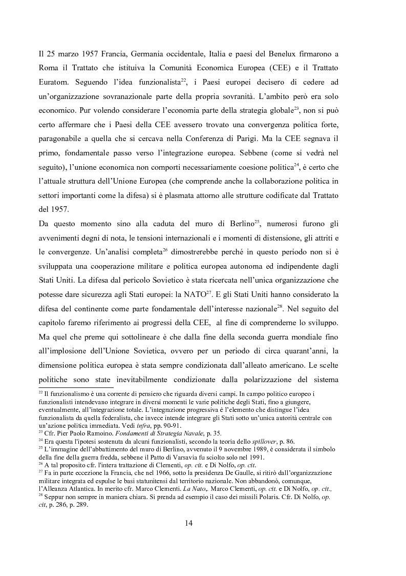 Estratto dalla tesi: La dimensione militare dell'Unione Europea. Sviluppi politici, strumenti, attività operativa