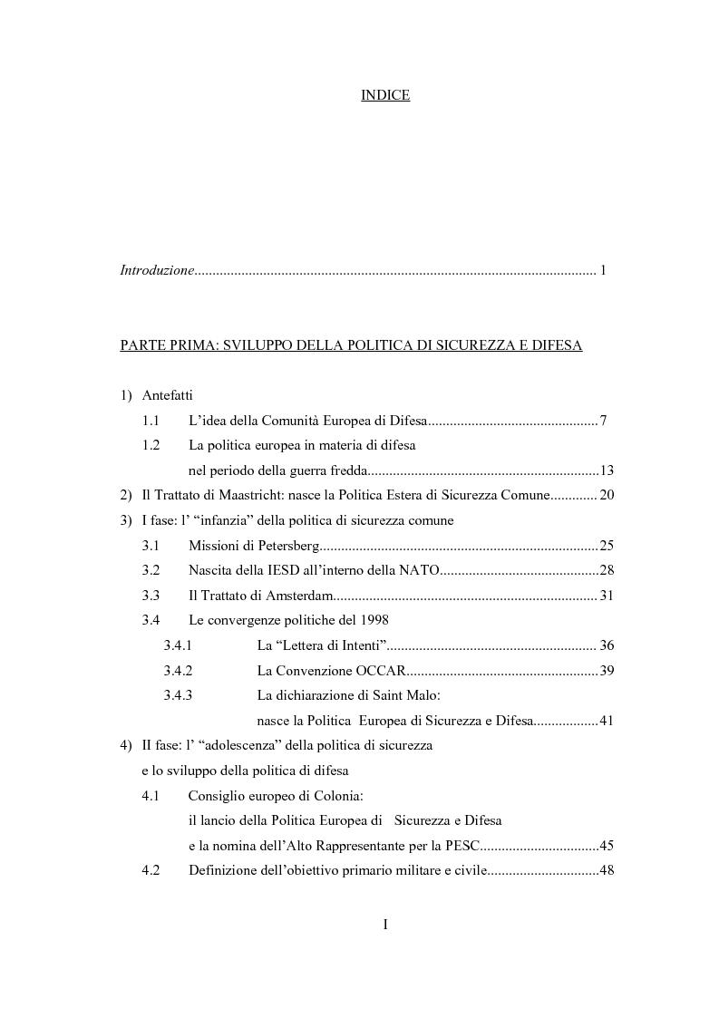 Indice della tesi: La dimensione militare dell'Unione Europea. Sviluppi politici, strumenti, attività operativa, Pagina 1