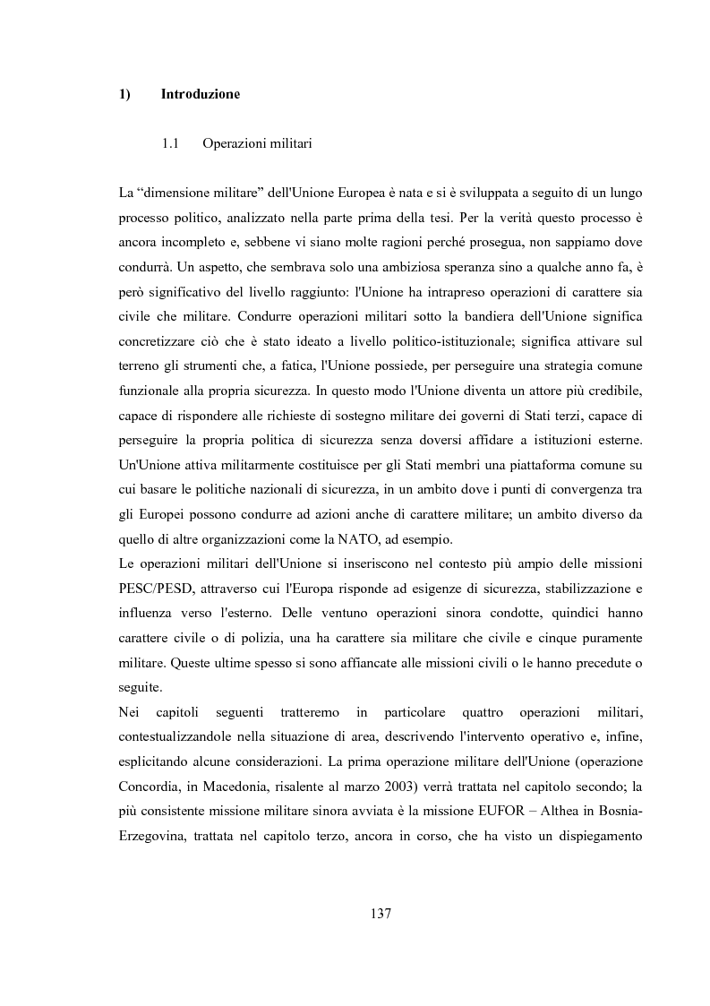 Anteprima della tesi: La dimensione militare dell'Unione Europea. Sviluppi politici, strumenti, attività operativa, Pagina 10