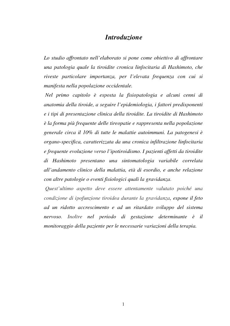 Tiroidite di Hashimoto: aspetti etiopatogenetici, clinici e terapeutici - Tesi di Laurea