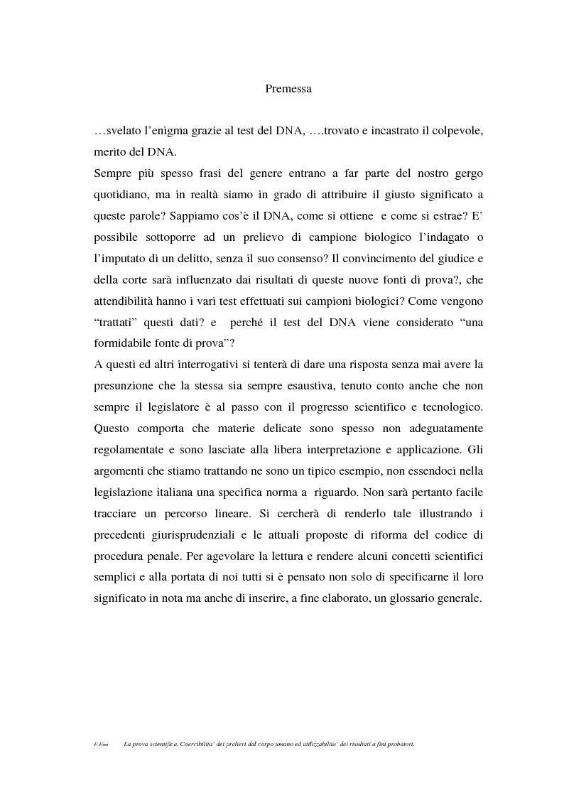 Anteprima della tesi: La prova scientifica (il test del DNA). Coercibilità dei prelievi dal corpo umano ed utilizzabilità dei risultati a fini probatori., Pagina 1