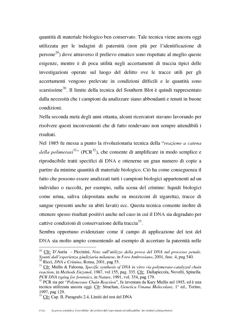 Anteprima della tesi: La prova scientifica (il test del DNA). Coercibilità dei prelievi dal corpo umano ed utilizzabilità dei risultati a fini probatori., Pagina 10