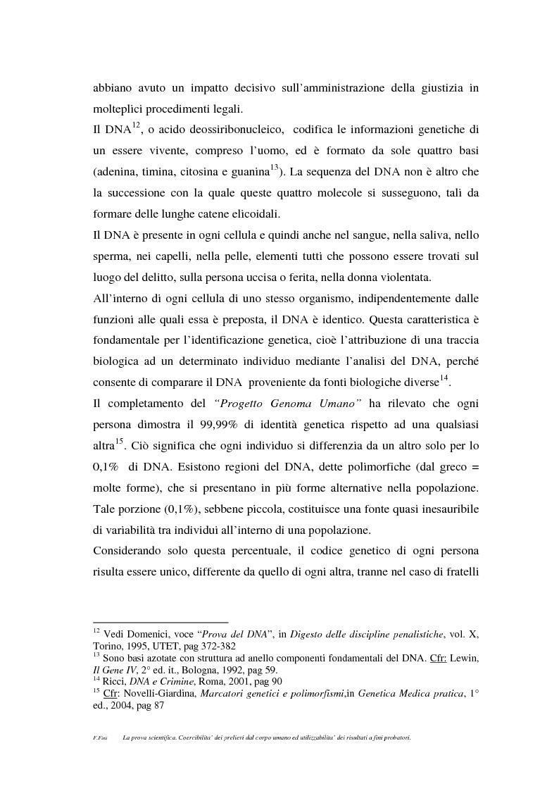 Anteprima della tesi: La prova scientifica (il test del DNA). Coercibilità dei prelievi dal corpo umano ed utilizzabilità dei risultati a fini probatori., Pagina 5