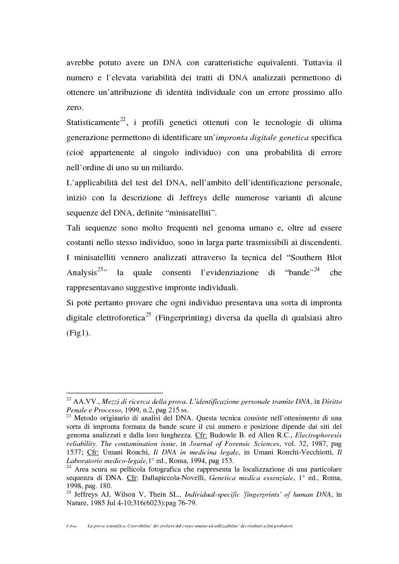 Anteprima della tesi: La prova scientifica (il test del DNA). Coercibilità dei prelievi dal corpo umano ed utilizzabilità dei risultati a fini probatori., Pagina 8