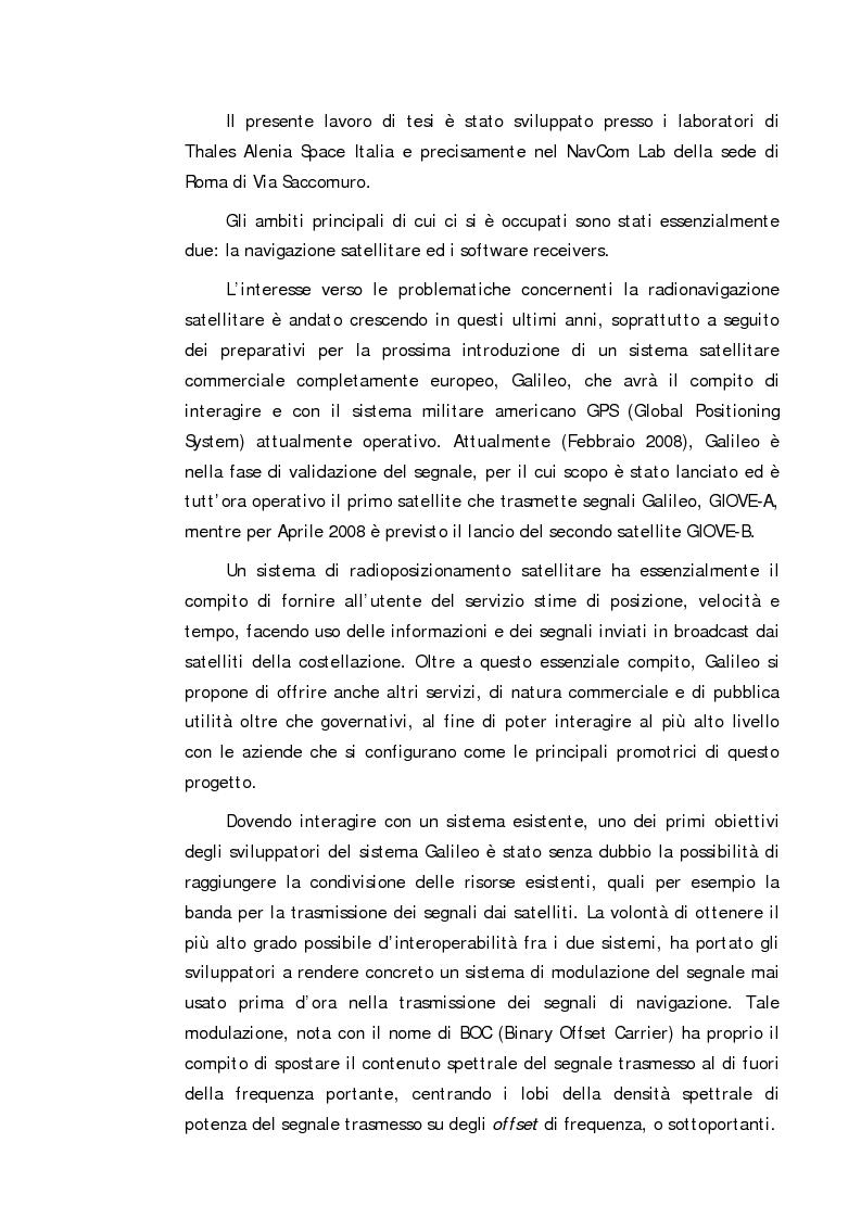 Anteprima della tesi: Definizione e sviluppo di un ricevitore software per l'elaborazione di segnali GPS e Galileo, Pagina 1