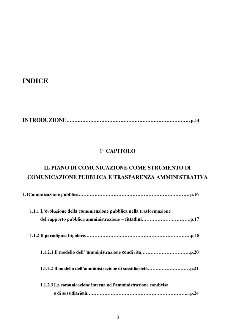 Indice della tesi: Il piano di comunicazione della Regione Puglia 2008 - Strumento di comunicazione pubblica e trasparenza amministrativa, Pagina 1