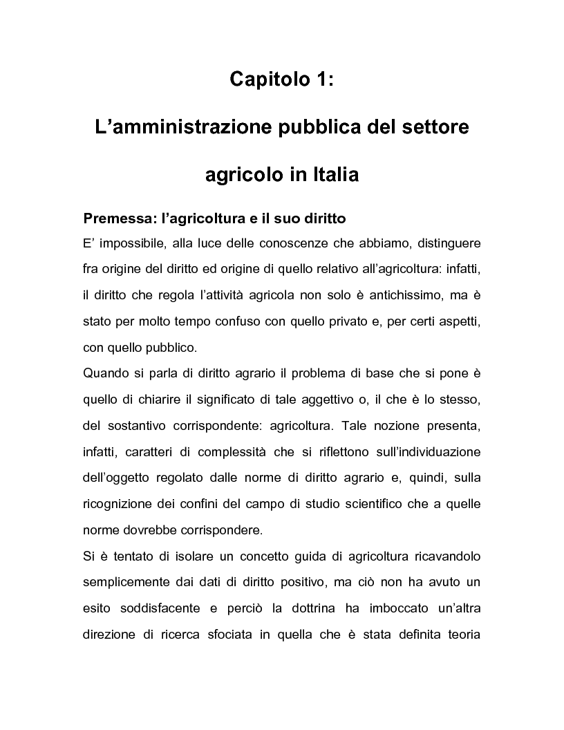 Anteprima della tesi: La regolazione amministrativa dell'agricoltura con particolare riferimento alla produzione del latte, Pagina 1