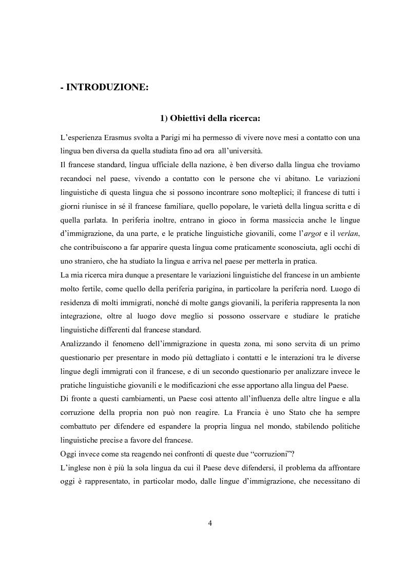 La periferia parigina: analisi delle variazioni linguistiche del francese nella lingua dei giovani e degli immigrati - T...