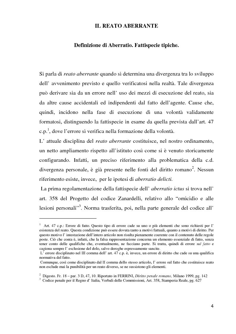 Anteprima della tesi: Il reato aberrante, Pagina 1